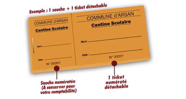 tickets cantine pour ecole Arsan