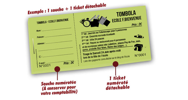 ticket tombola ecole Bienvenue
