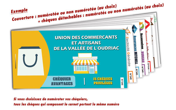 impression chéquier réduction commerçants