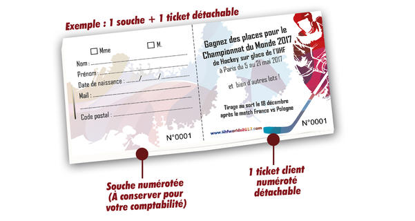 billets tombola papiers recyclés sports hockey