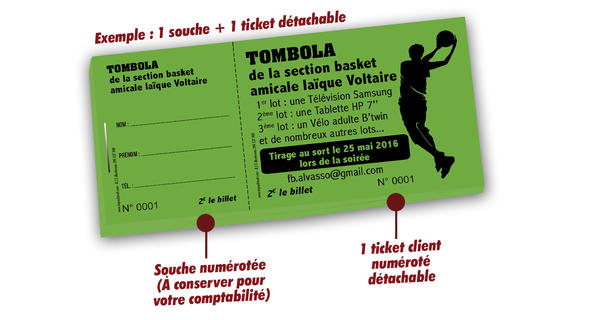 tickets tombola club de sport basket