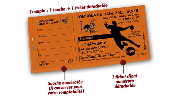 impression tickets tombola sport handball