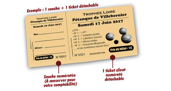 billets tombola associations sportives petanque