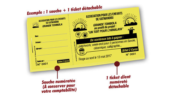 tickets de tombola associations caritatives Katmandou