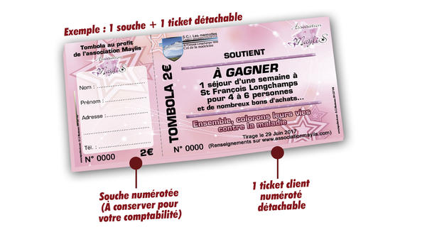 imprimer tickets tombola pas cher associations Maylis