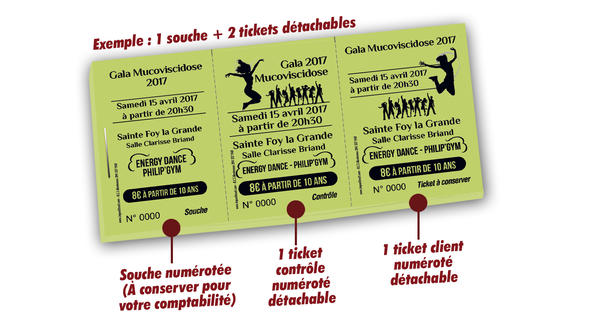 billets de tombola associations humanitaires mucoviscidose